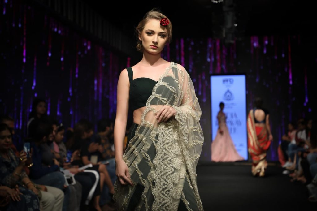 "Saurabh & Shena showcased ""Dil-e-Guldasta""  a collection presenting finest zardozi, pearls, rhinestones & colorful resham threads at India Runway Week 3"