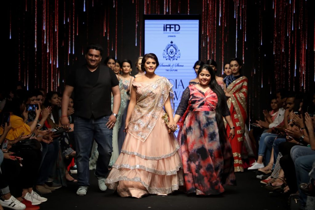 "Saurabh & Shena showcased ""Dil-e-Guldasta""  a collection presenting finest zardozi, pearls, rhinestones & colorful resham threads at India Runway Week 2"